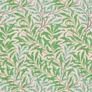 William Morris tapet Pure Willow Bough Pink Leaf green