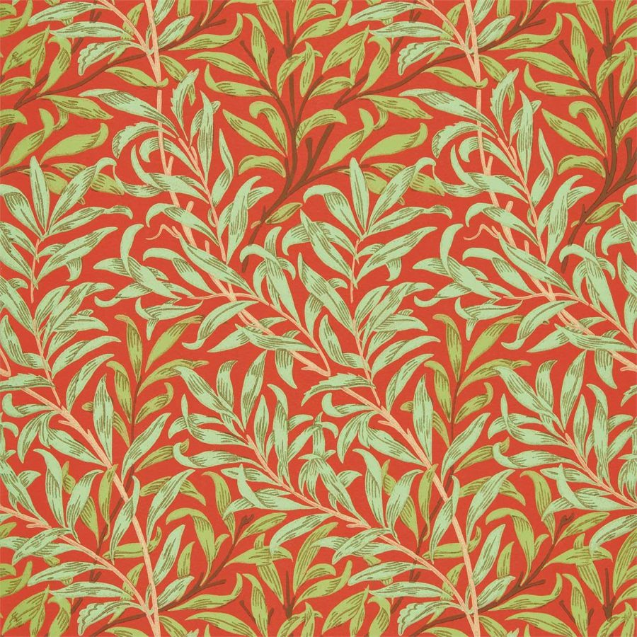 William Morris tapet Pure Willow Bough Tomato Olive green