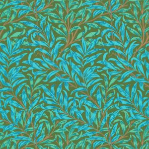 William Morris tapet Willow Bough Olive / Turquoise